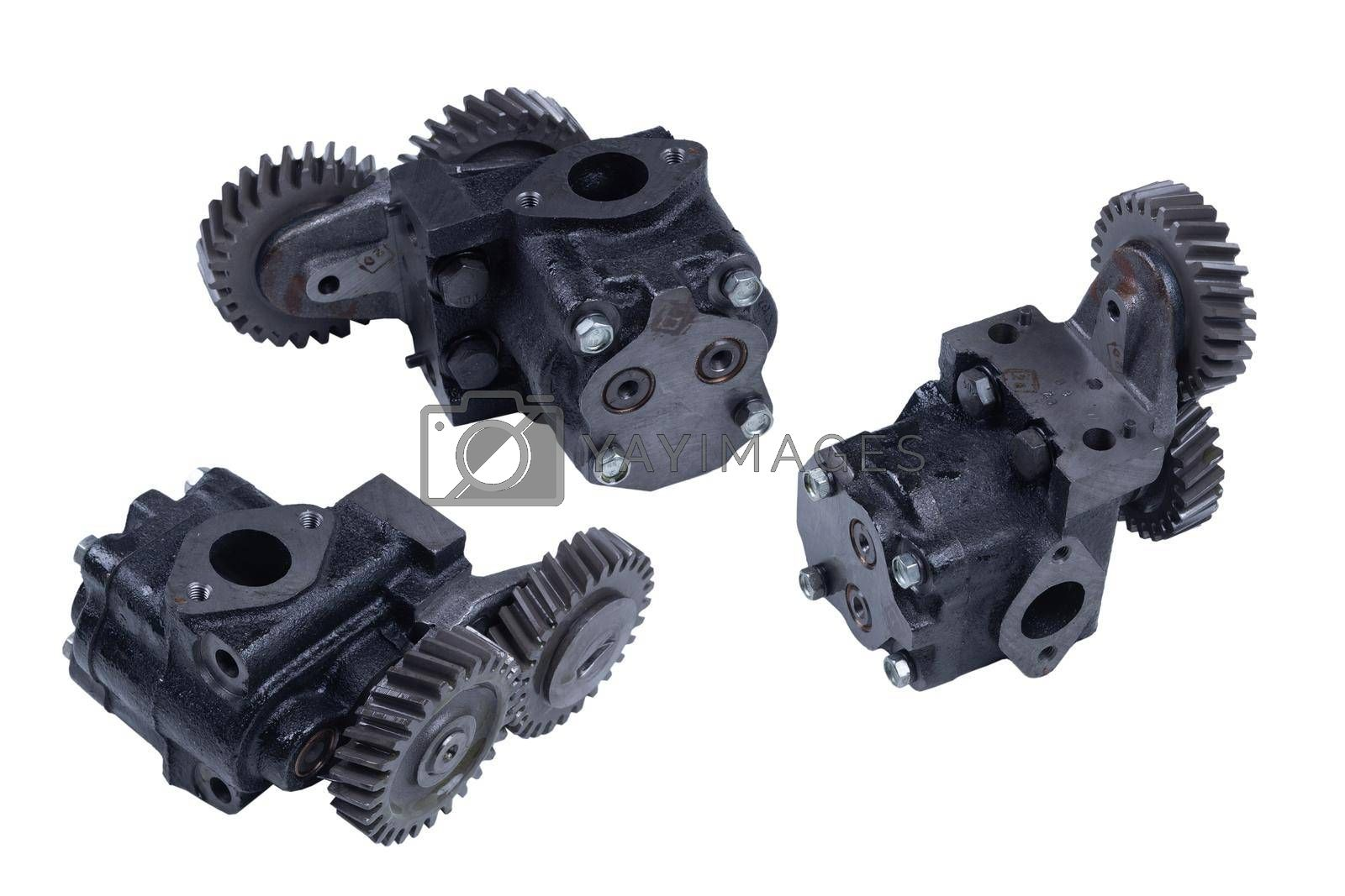 Royalty free image of truck oil gear pump isolated on white background by forester