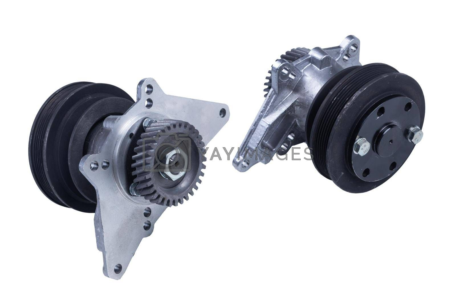 Royalty free image of the hydraulic coupling of the truck fan drive is isolated on a white background by forester