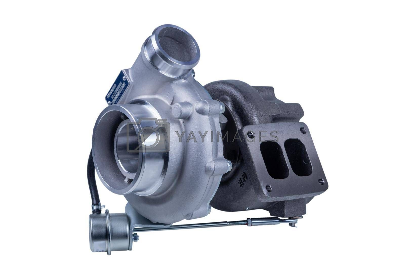 Royalty free image of new modern turbocharger of the Russian truck, isolated on a white background. turbocharger to increase the power of the car engine. by forester