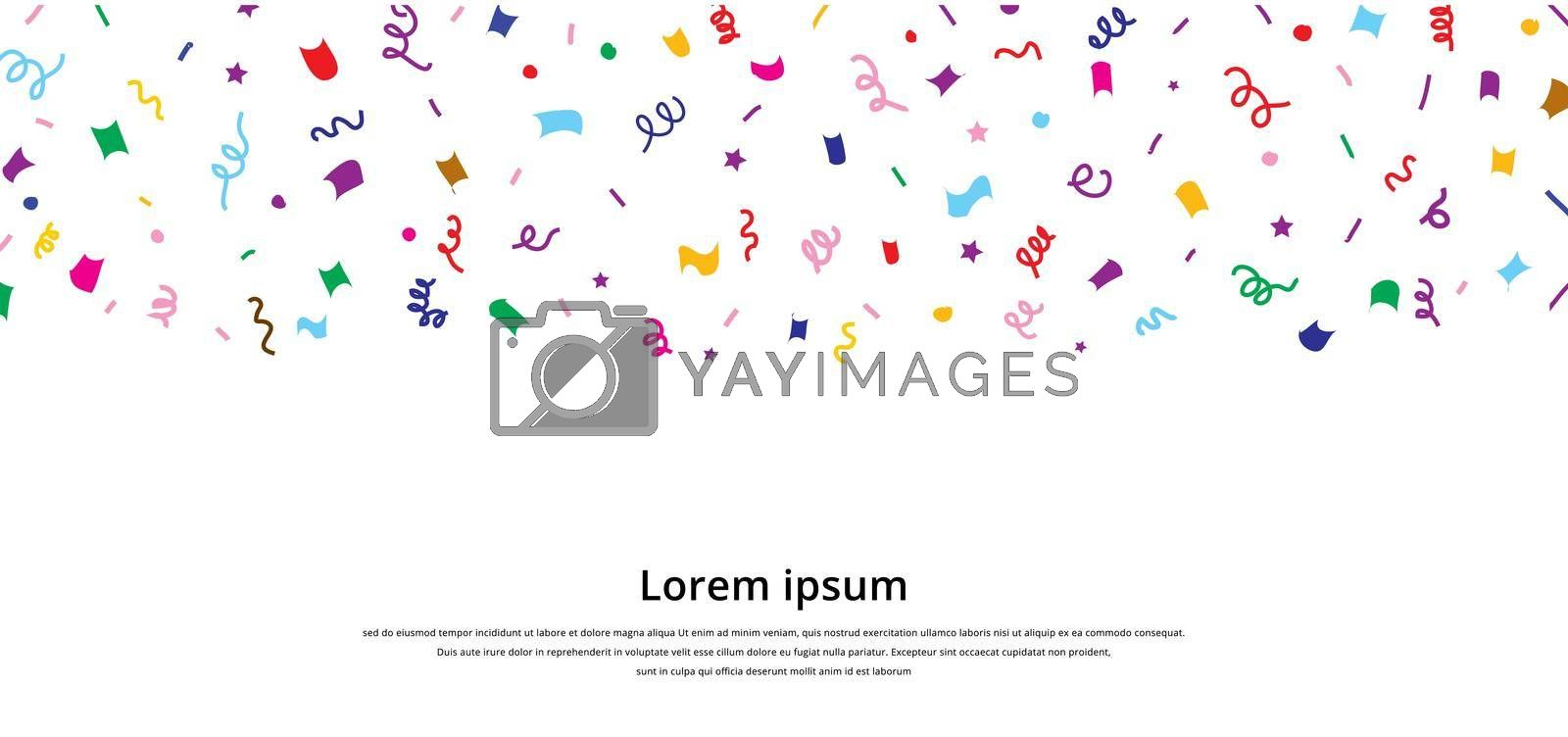 Colorful confetti repeat pattern for birthday party or event celebration invitation or decoration isolated on white background. Vector illustration