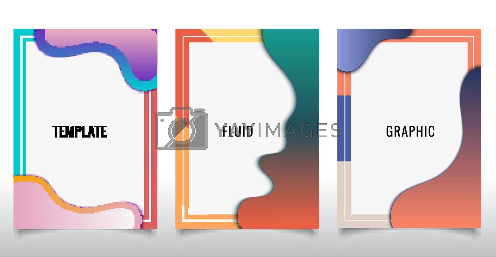 Set of template design of modern cover brochure abstract liquid flowing shapes elements on white background. Vector illustration