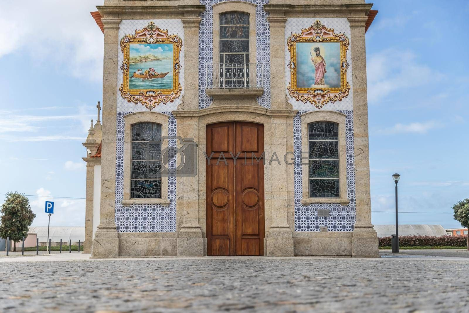 Mar, Esposende near Braga, Portugal - October 21, 2020: architectural detail of the church of S. Bartolomeu de Mar in a small village in northern Portugal on an autumn day