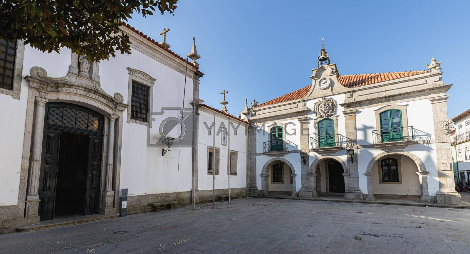 Esposende, Portugal - February 21, 2020: Architectural detail of the Church of Mercy (Santa Casa Misericordia de Fao) in the historic city center on a winter day