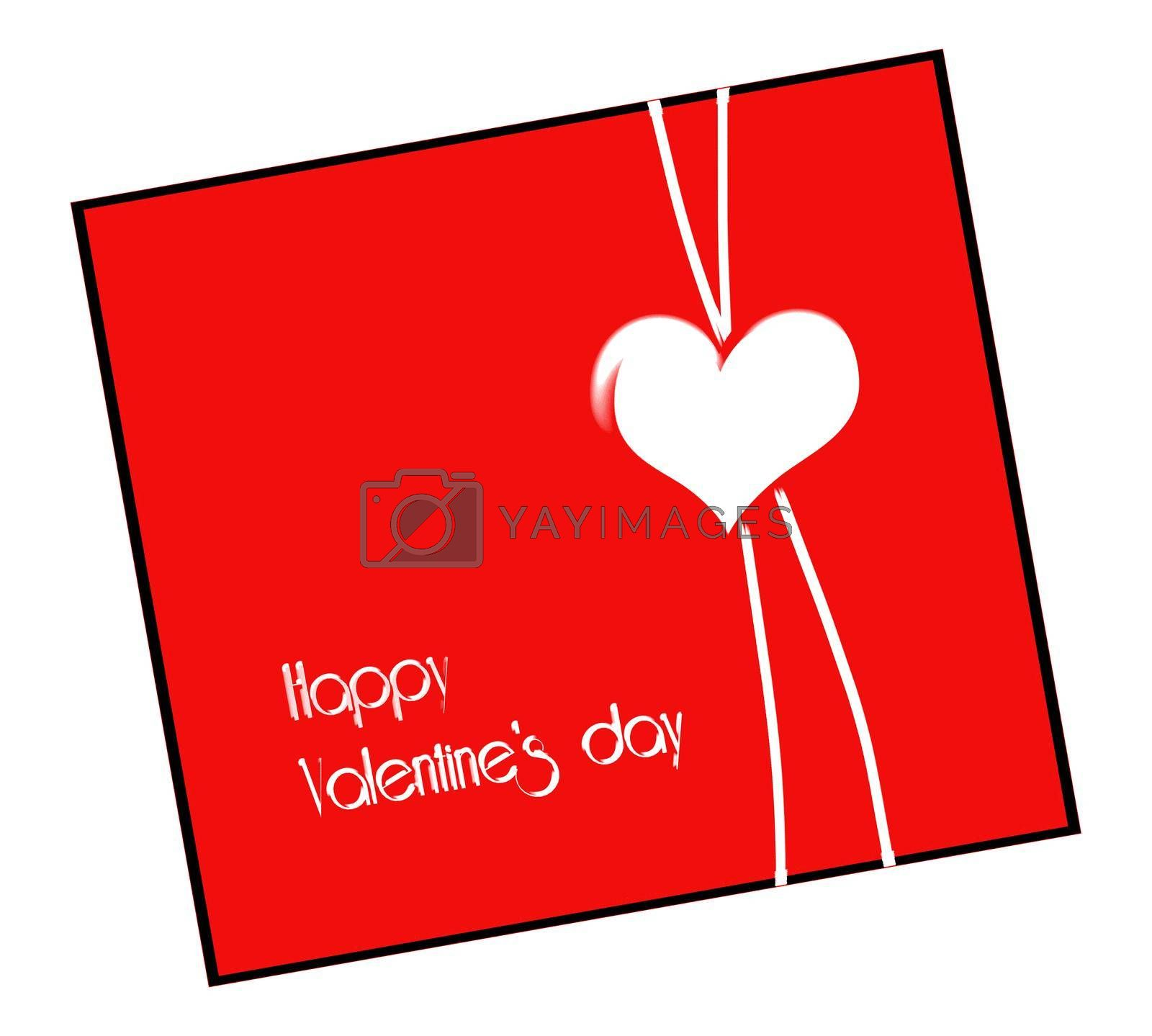 Modern Valentine's card in red. Text Happy Valentines day. Illustration