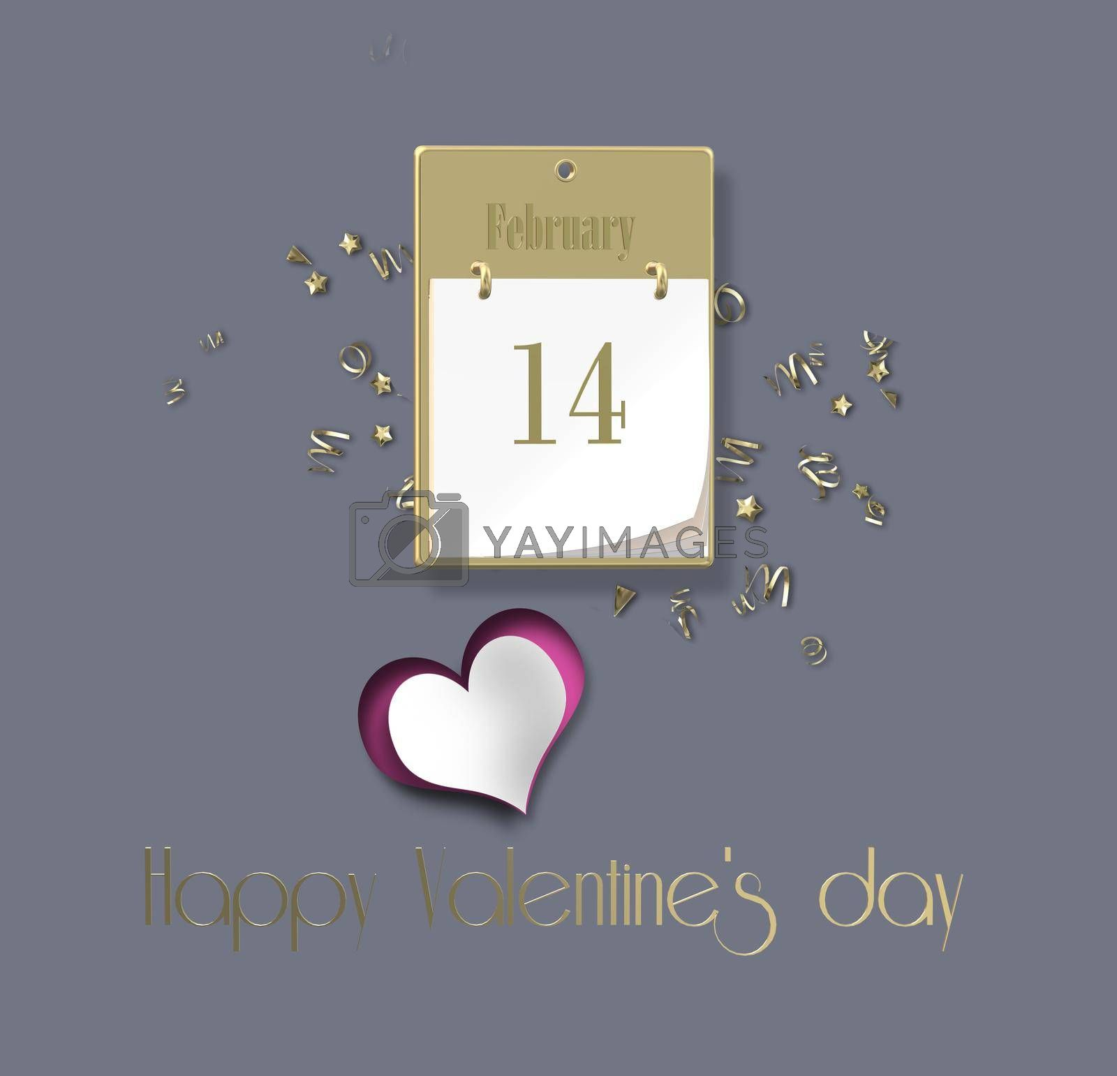 Valentines calendar 14 February. Open calendar 14 February. Gold text Happy Valentine's day. Planning, poster, brochure, card invitation. 3D rendering