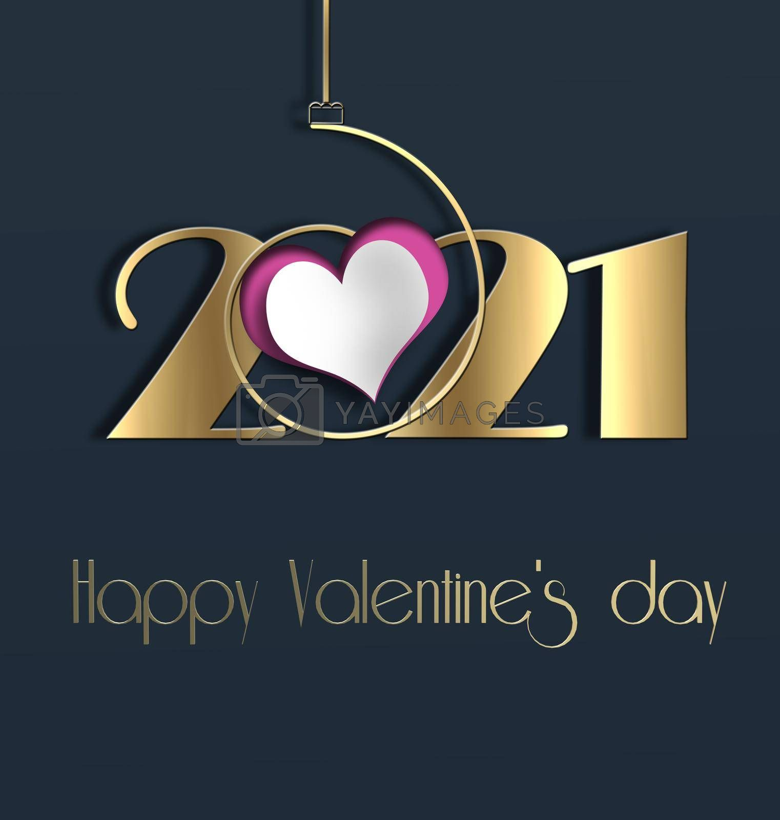 Valentines day 2021 heart realistic, golf digit 2021. Text Happy Valentines day. 3Dillustration. 2021 year of love concept