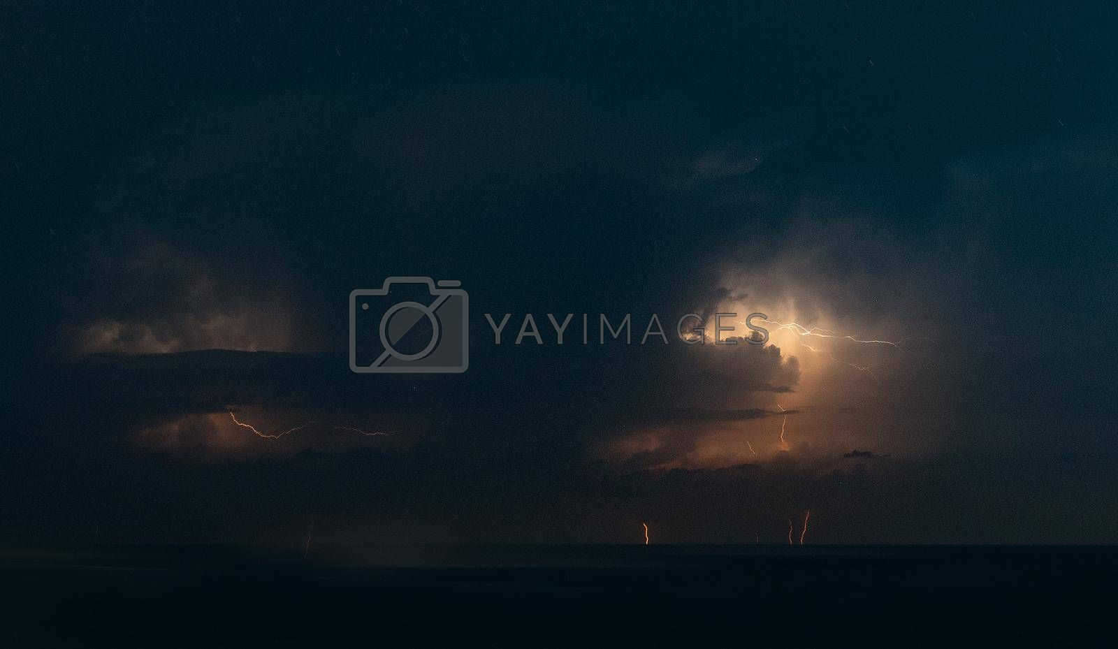 Night storm nature electricity forces