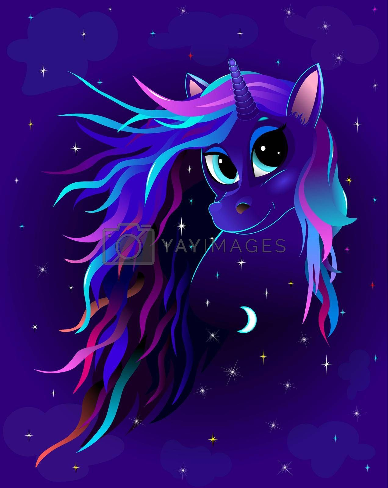 Unicorn night starry sky by liolle