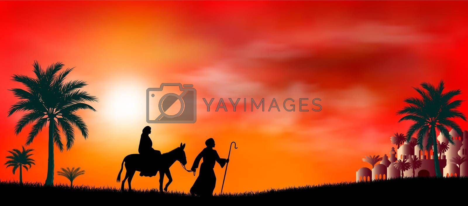 Royalty free image of Virgin Mary and Joseph on their journey by liolle