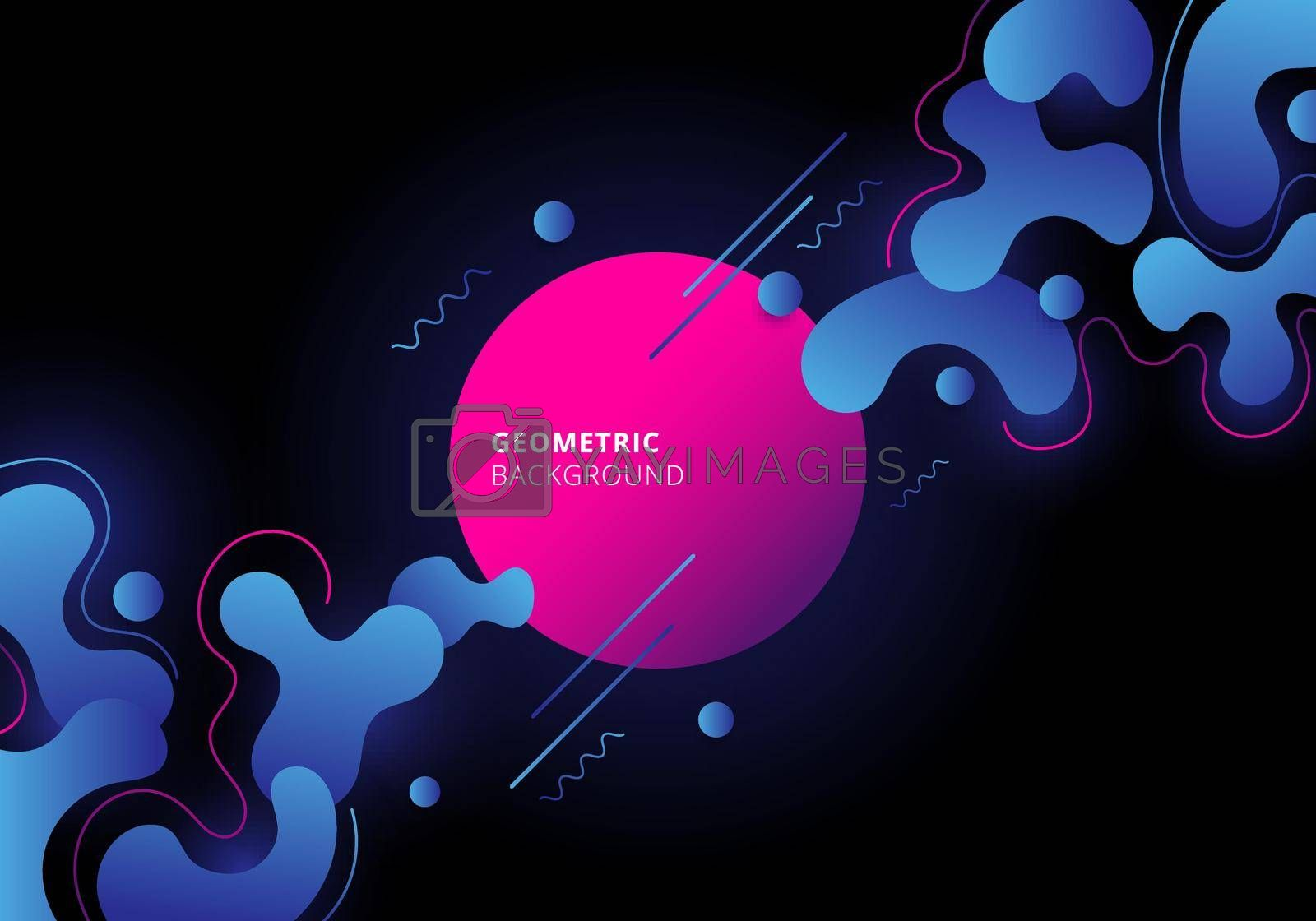 Abstract blue and pink color geometric with fluid flow on black background. Vector illustration