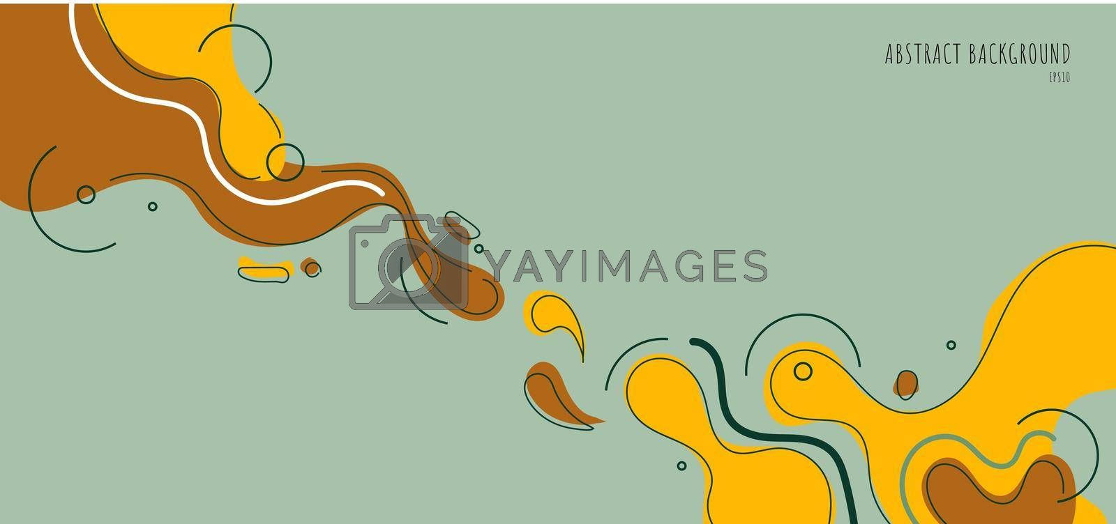 Banner web template abstract yellow organic fluid shape with line on green background. Vector illustration