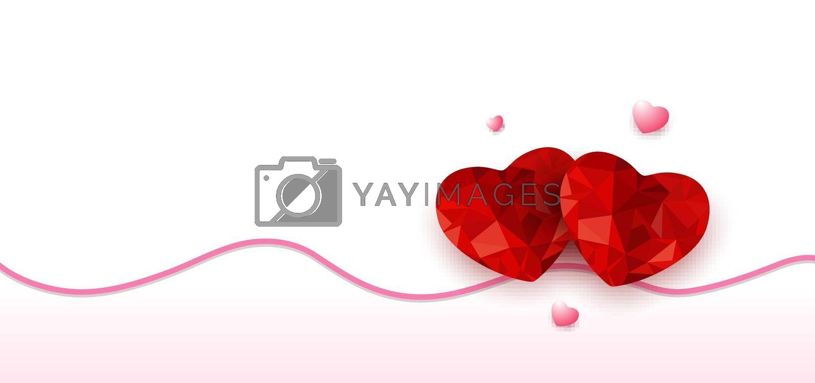 Happy valentine's day origami red heart low polygon design with shadow and wavy line on white background. Vector illustration