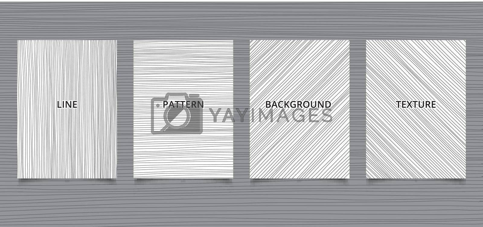 Set of brochure template hand drawn black lines stripes vertical, horizontal, diagonal on white background and texture. Vector illustration