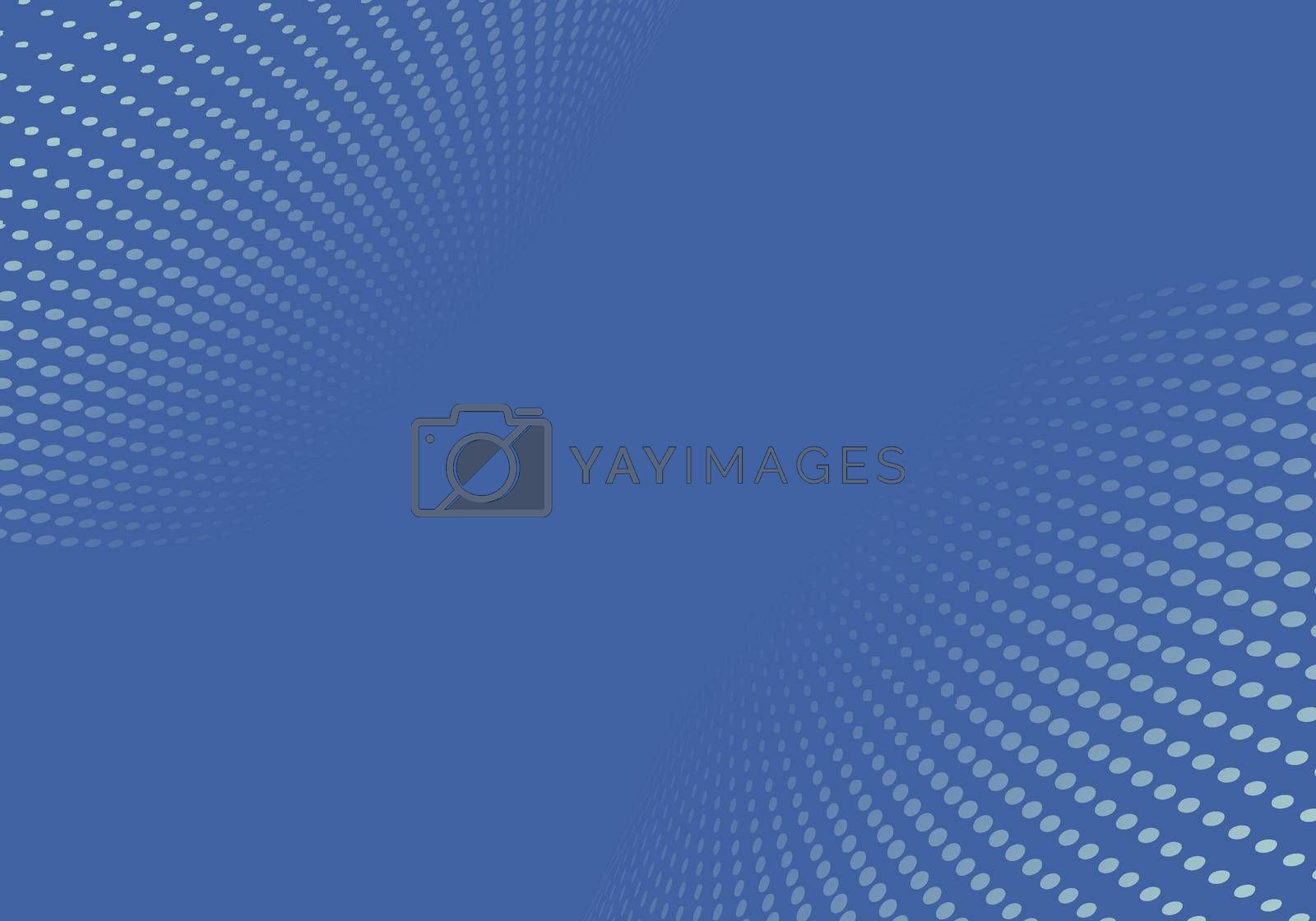 Abstract blue halftone dots pattern distortion perspective background and texture. Vector illustration