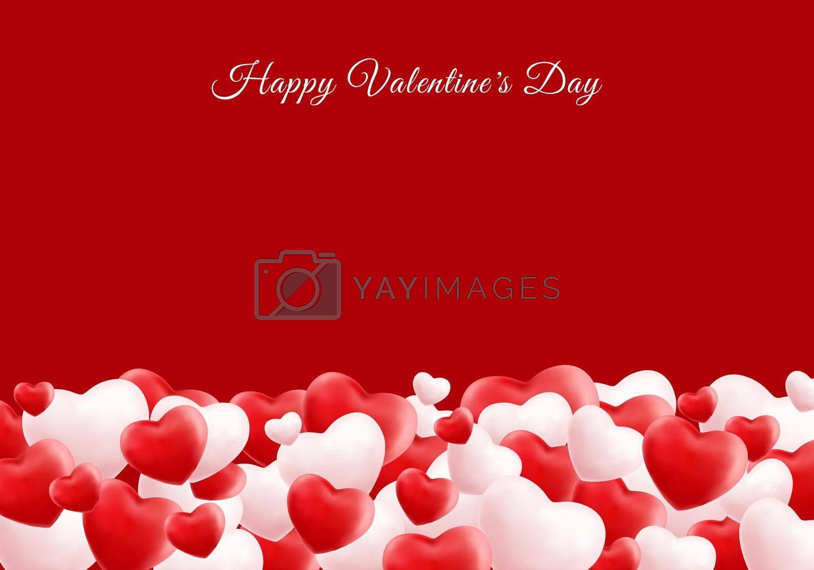 Happy valentine day 3D realistic red and white many hearts with space for your text. You can use for greetings card, banner web, invitation, poster, brochure, etc. Vector illustration