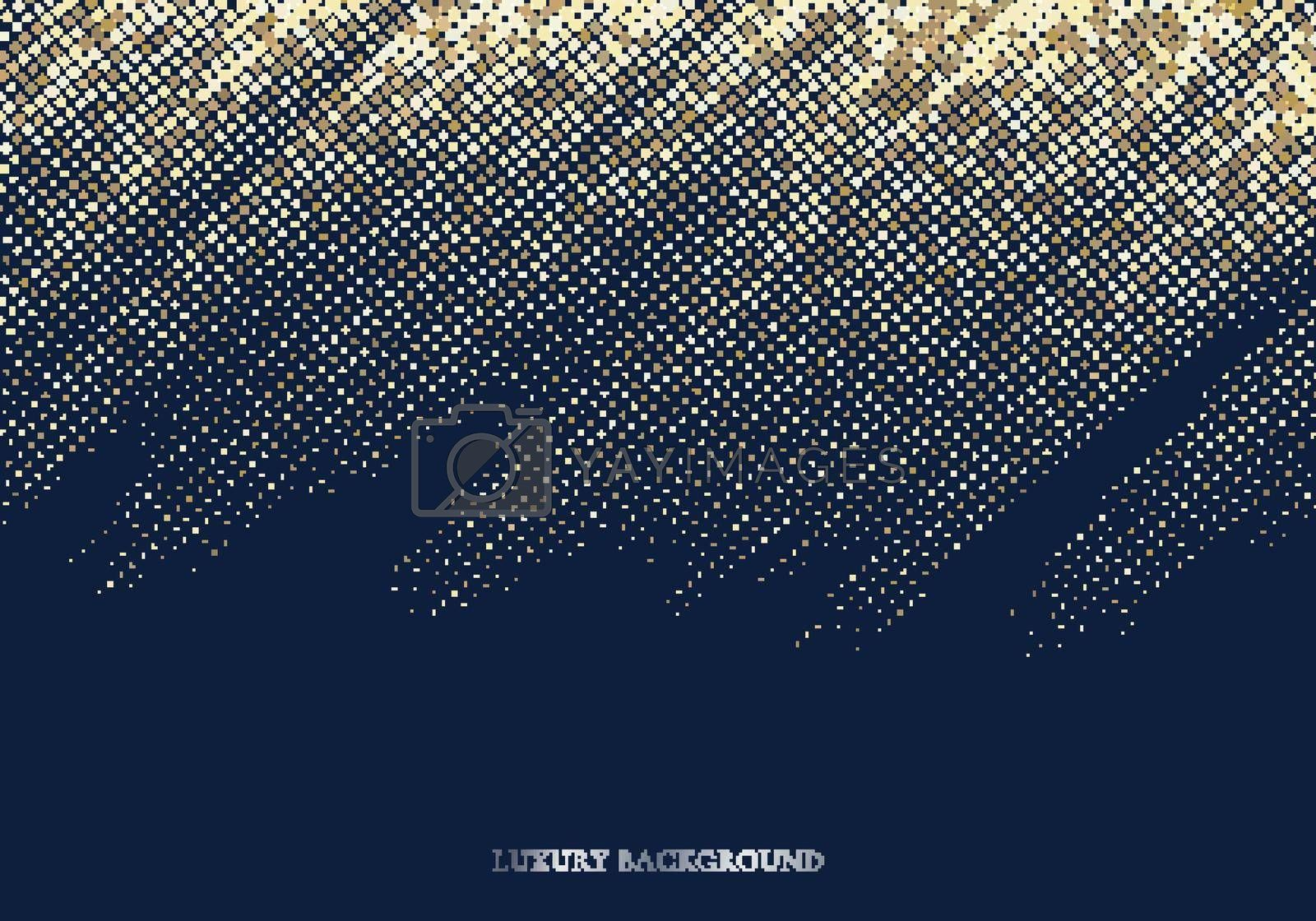 Abstract gold glitter shiny light halftone effect on dark blue background luxury style with space for your text. Vector illustration