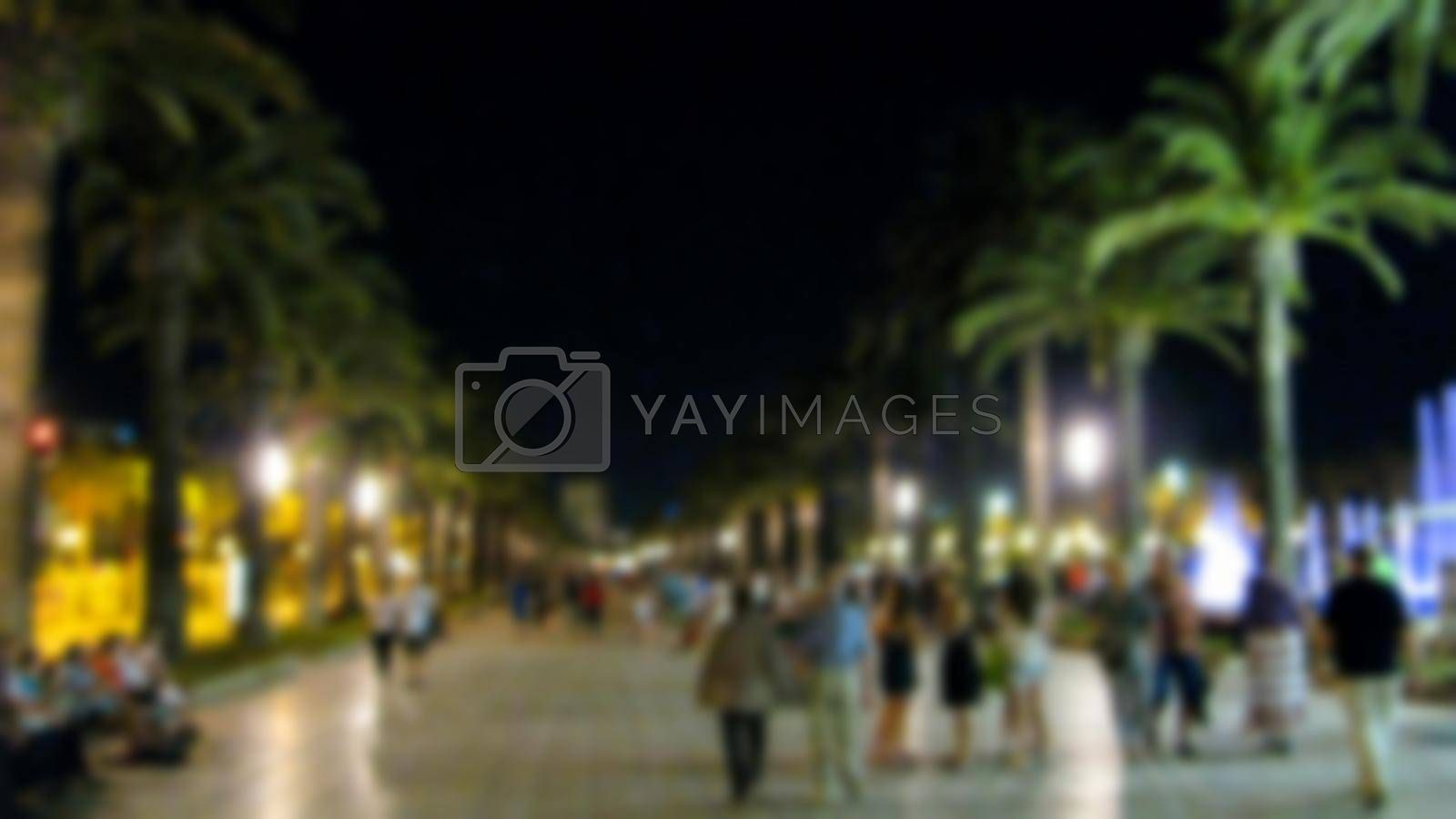 Creative evening city landscape. The theme of creative abstract background with blur and bokeh effect for the background.