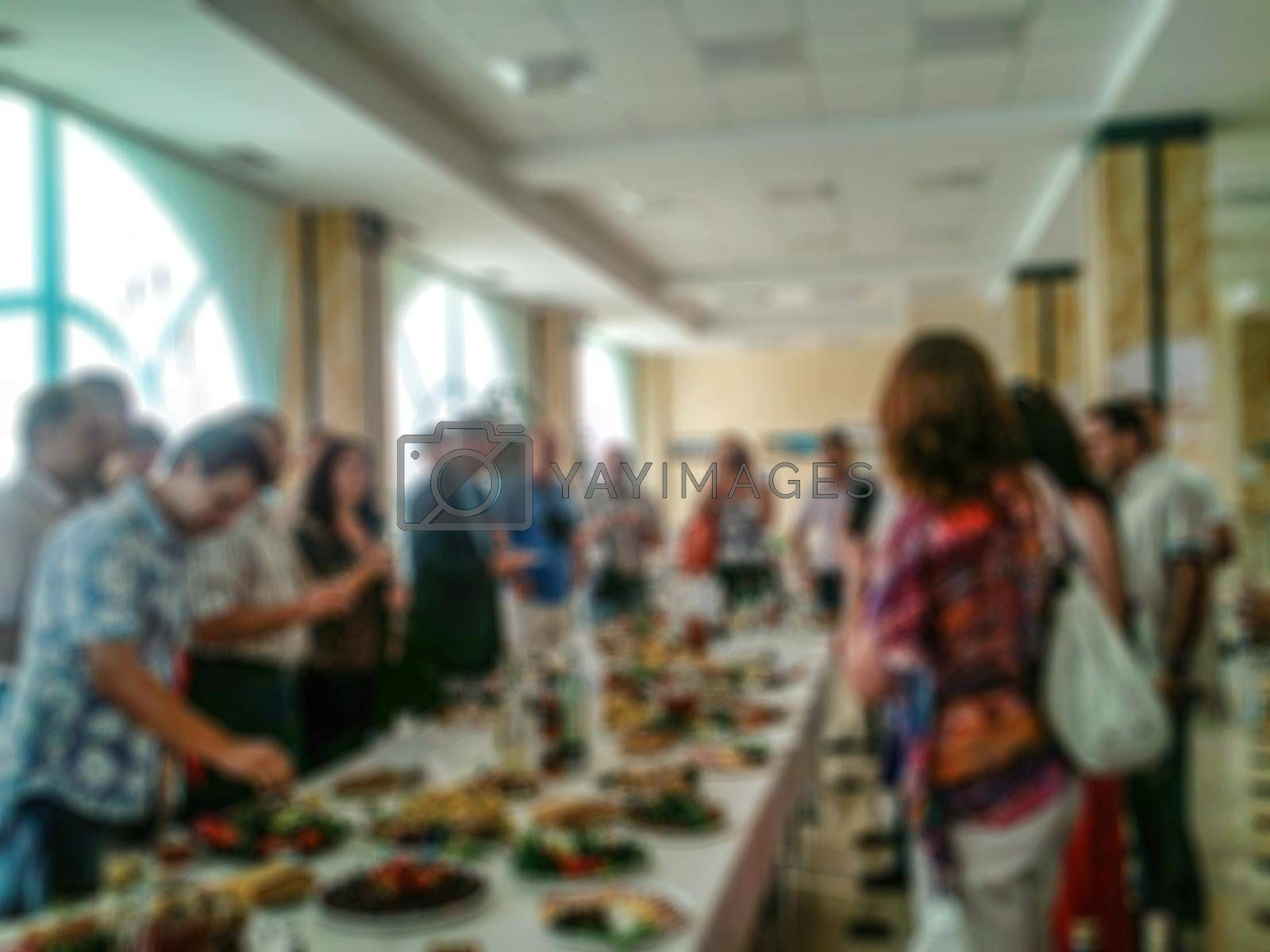 Blurring in a creative illustration on the topic of corporate communication, buffet. Stock illustration for banners and backgrounds.