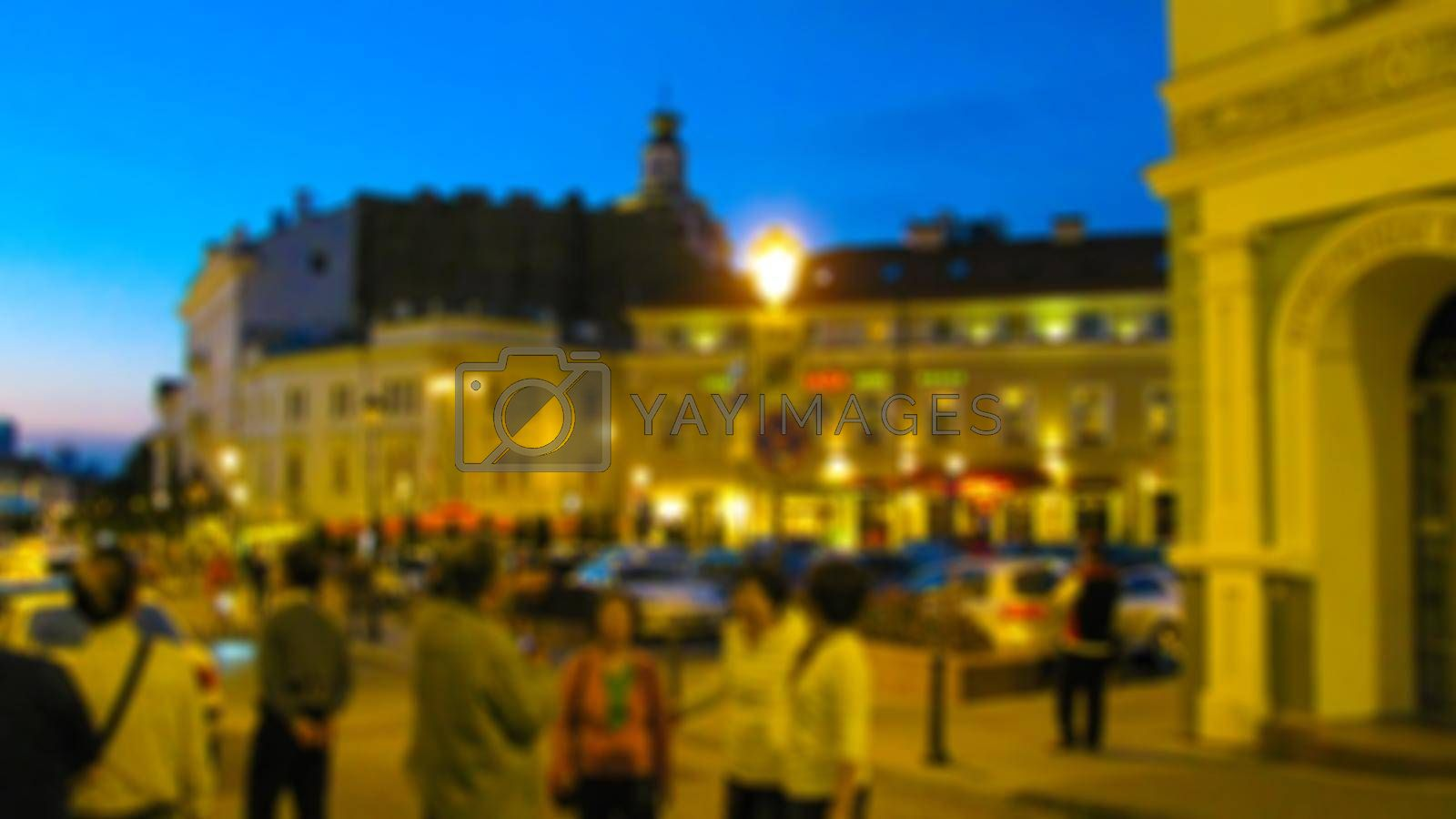 Evening urban street landscape. Street photography, tourism and travel theme creative abstract background with blur and bokeh effect for background, screensaver, Wallpaper, decoration and design