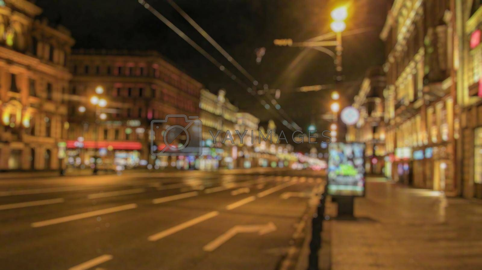 Night city. Creative theme with blur and bokeh for themed posters, banners and screensavers