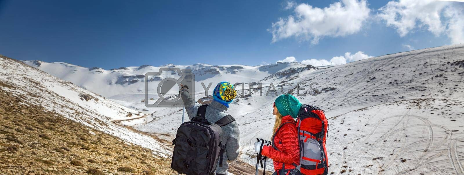 Rear View on a two Cheerful Sportsman Walking in the Snowy Mountains with Trekking Poles. Choosing Right Way. Active Winter Holidays.