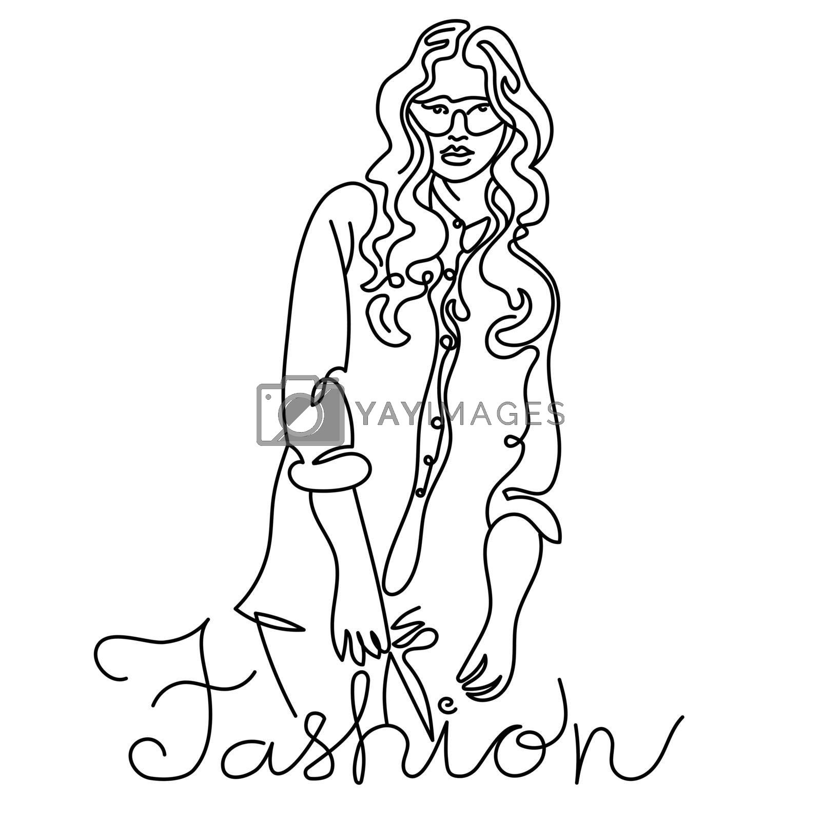 linear illustration of the fashion model girl with handwritten black and white lettering