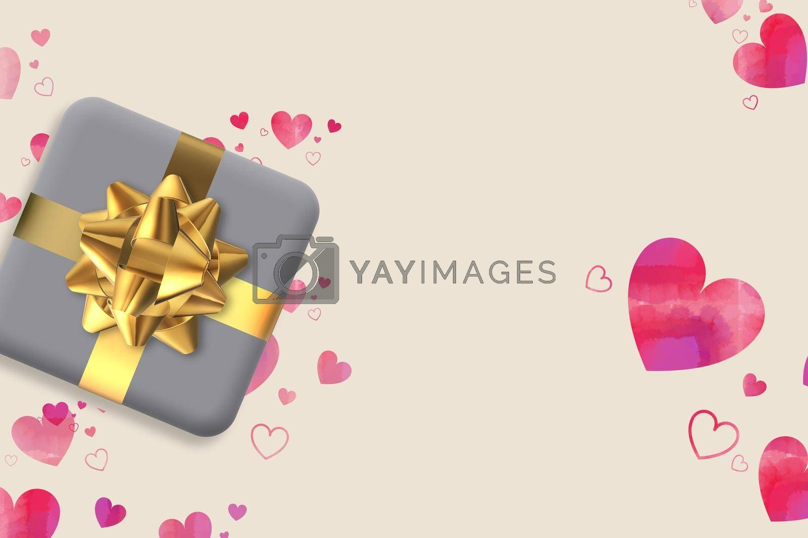 Gift box with bow, pink hearts. Valentines, love, birthday card. Horizontal 3D illustration