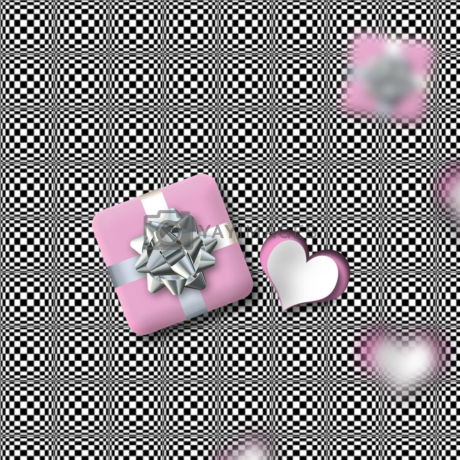 Modern Valentine's card with pink heart, gift box on grey abstract background. 3D illustration