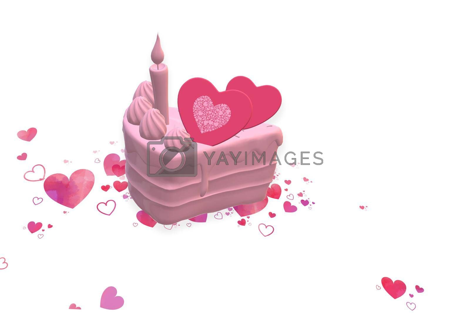 Pink sweet cake, pink hearts on white background. Love, birthday, Valentines card, cute sweetness of love. 3d illustration