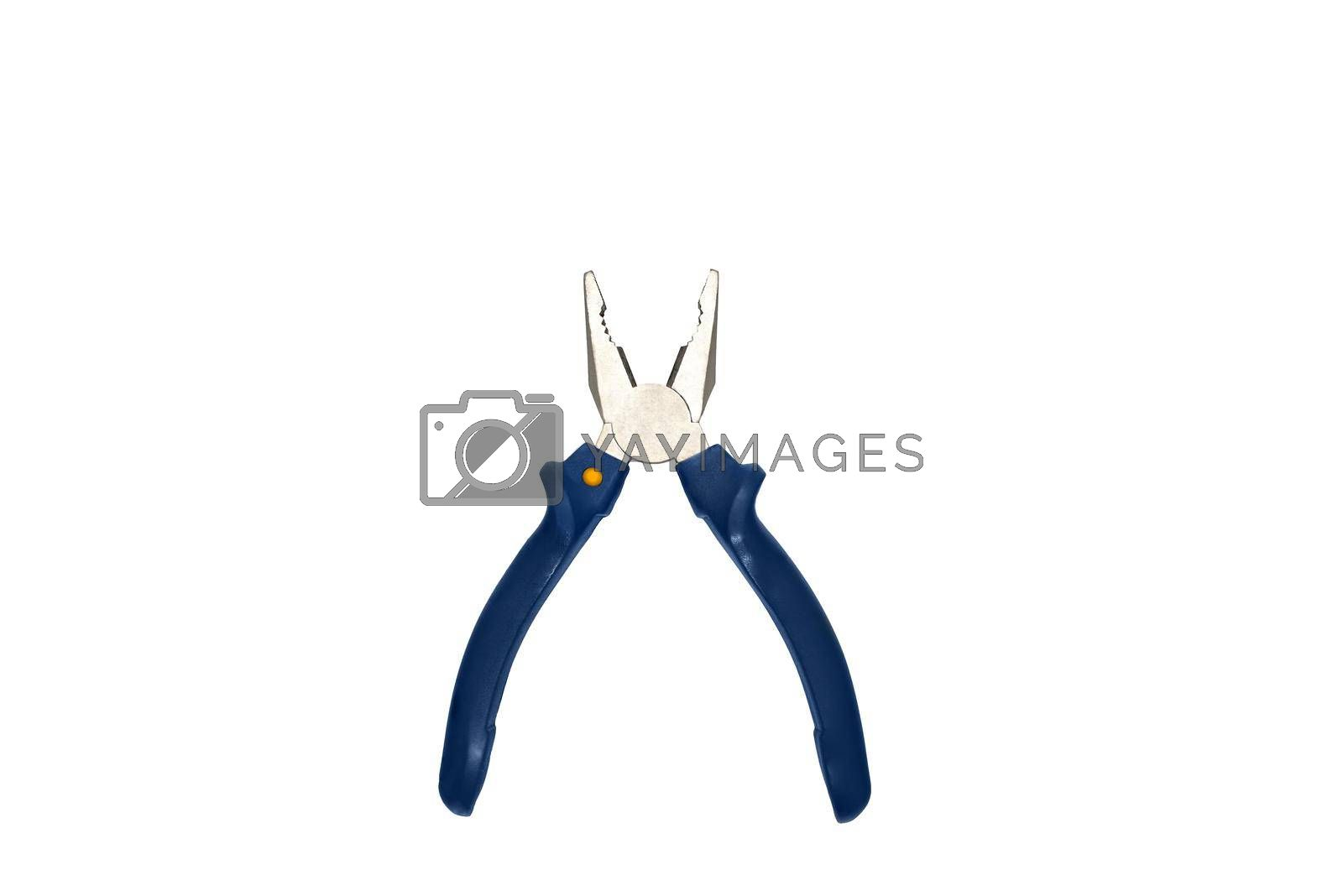 Combination pliers with blue grasp on a white background by Nickstock