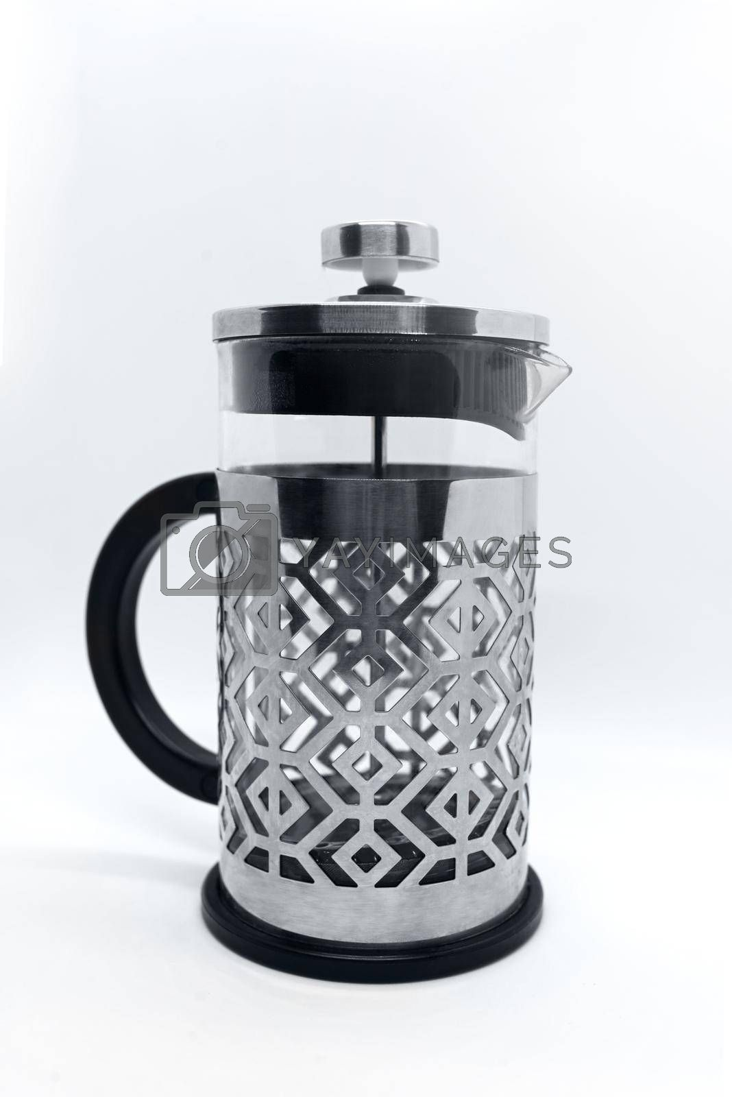 Clear Press Coffee Maker Isolated on White. French Press in Stainless Steel with Removable Borosilicate Glass Flask for Hot Cold Drinks. Modern Small Domestic Kitchenware. Vessel for Filtering Blend by Nickstock