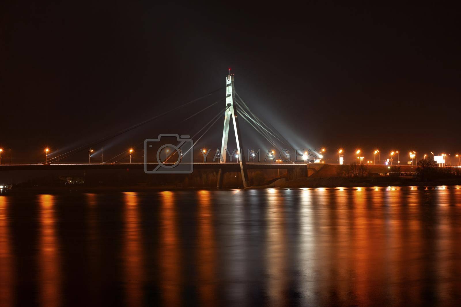 Moscow bridge in Kiev at night. Kiev city skyline by Nickstock