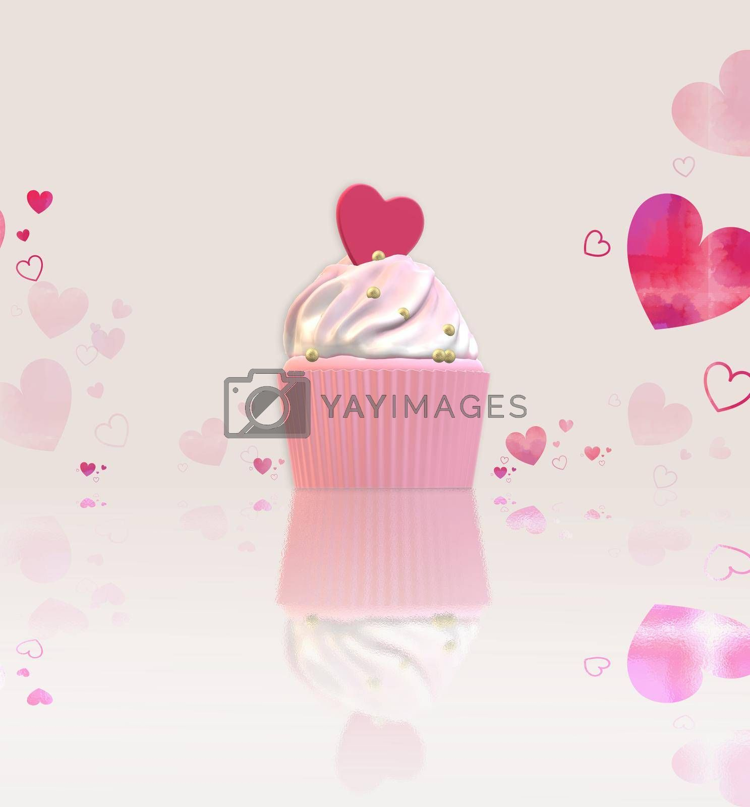 Cute cupcake with pink heart on top, reflection with confetti. Valentines, birthday, mothers day, love concept. 3D rendering