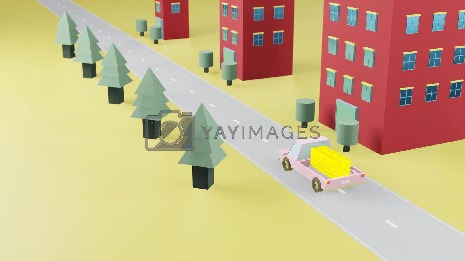 Royalty free image of Truck transport stack fine gold bar on road 3d render by eaglesky