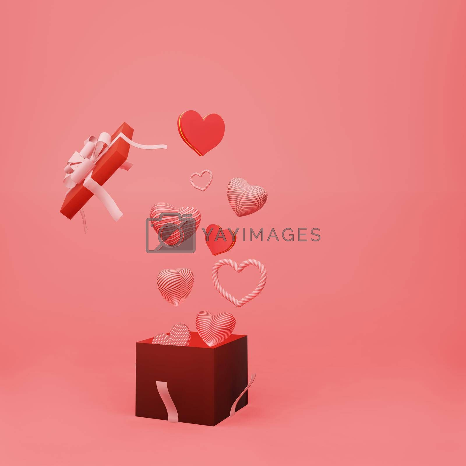Royalty free image of Beautiful heart sharp float from open gift box by eaglesky