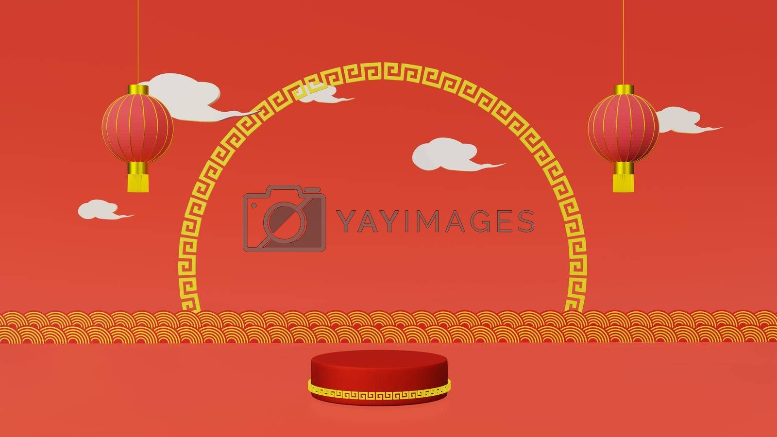 Royalty free image of Red podium with golden girdle and lamp Chinese new year by eaglesky