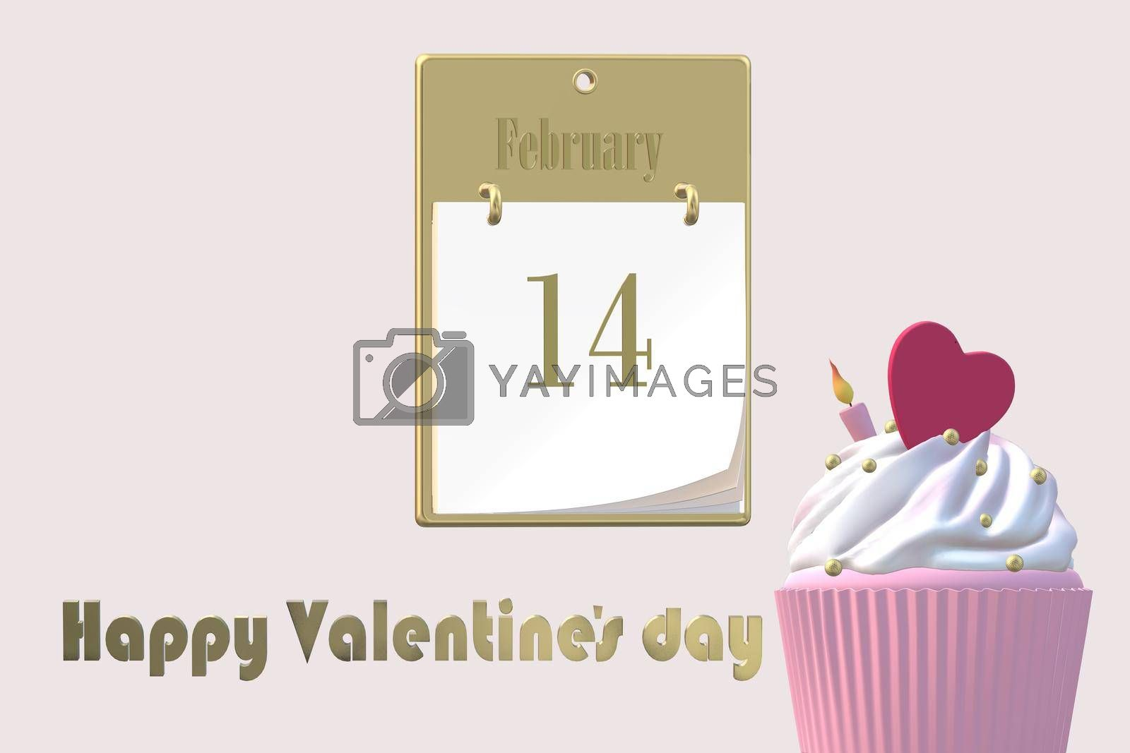 Love design for Valentine's card. 14 February calendar, cup cake with candle heart on top over pink background. 3D illustration