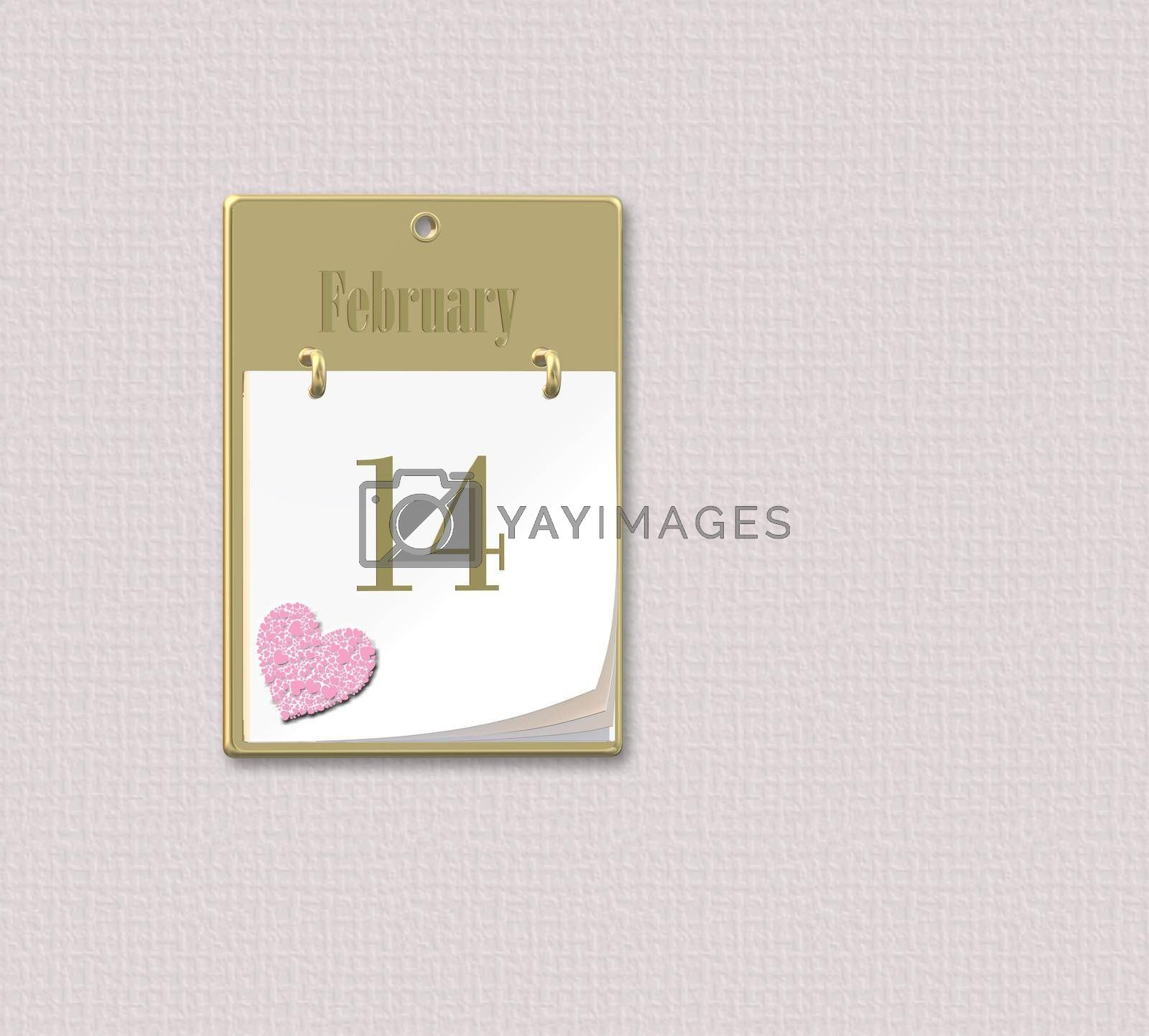Calendar 14 February, Valentine's Day with pink Heart, Valentines card, day to remember. 3D illustration