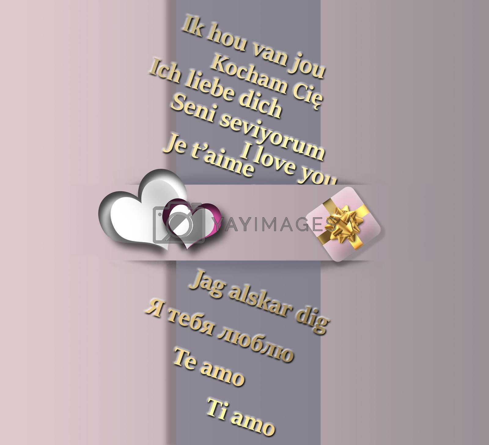 Love concept in different languages. I love you text in different languages, hearts, gift box on pink pastel background. 3D illustration