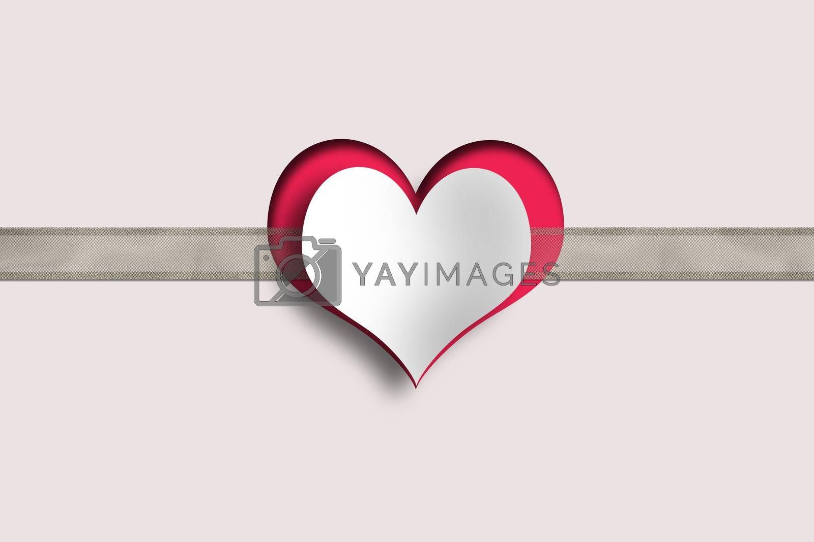 Heart, ribbon on pink background. Love, Valentines, wedding design. Paper heart on organza ribbon. Copy space, place for text. 3D illustration