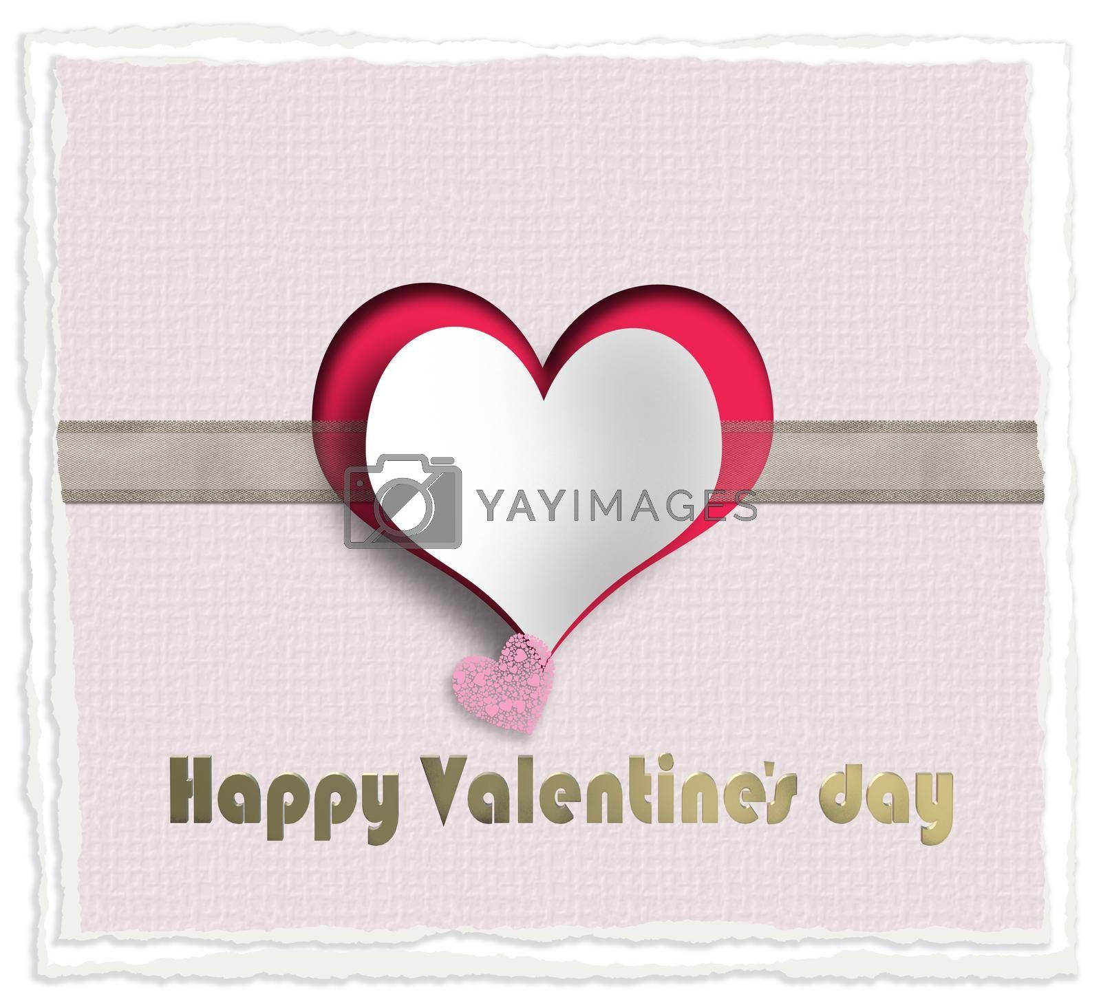 Cute love story, two hearts on pink background with ribbon, gold text Happy Valentines day. Valentines, wedding, love card. 3D illustration