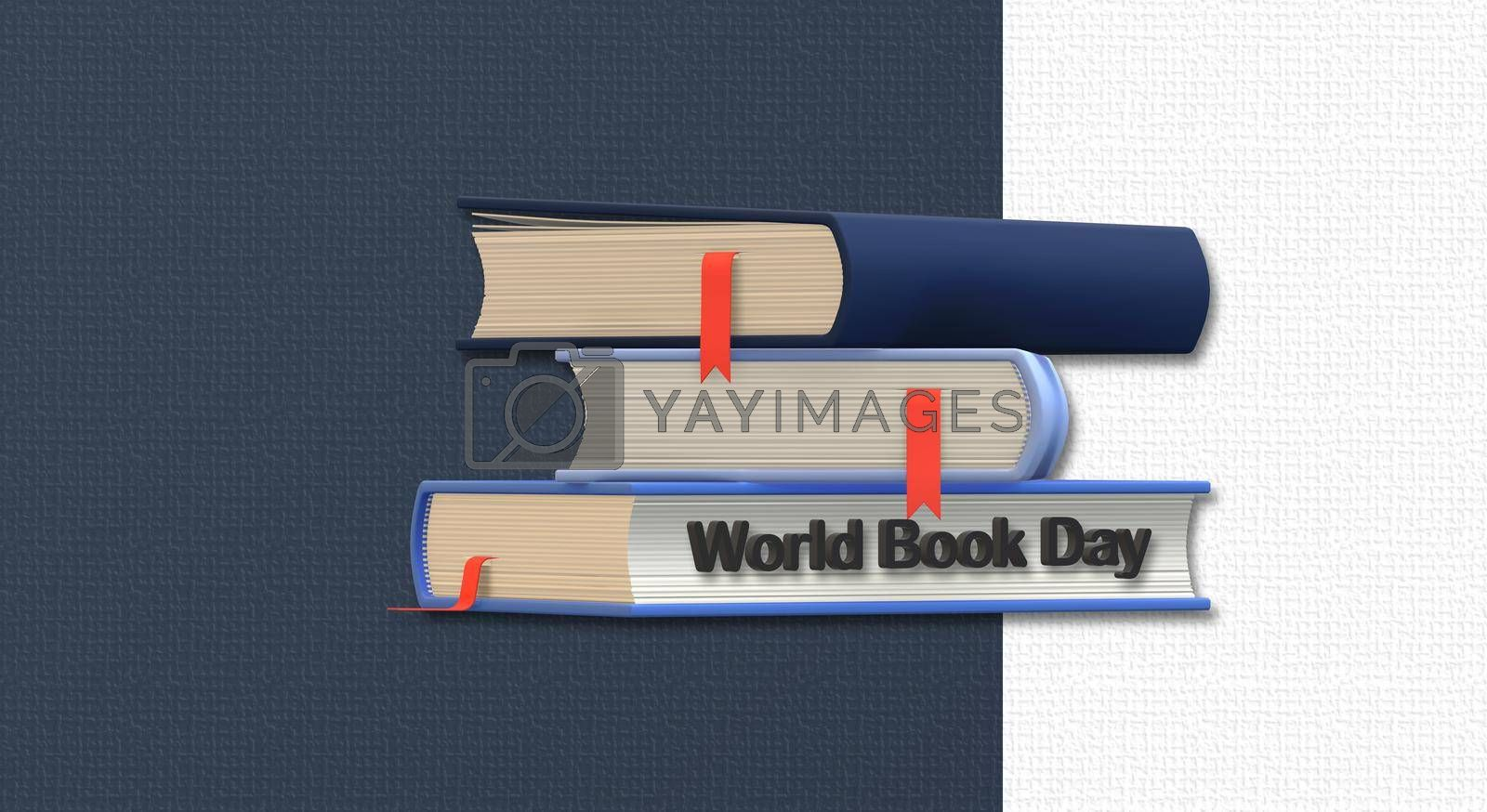 World book day with books on white blue background. World Day Book concept. 3D illustration