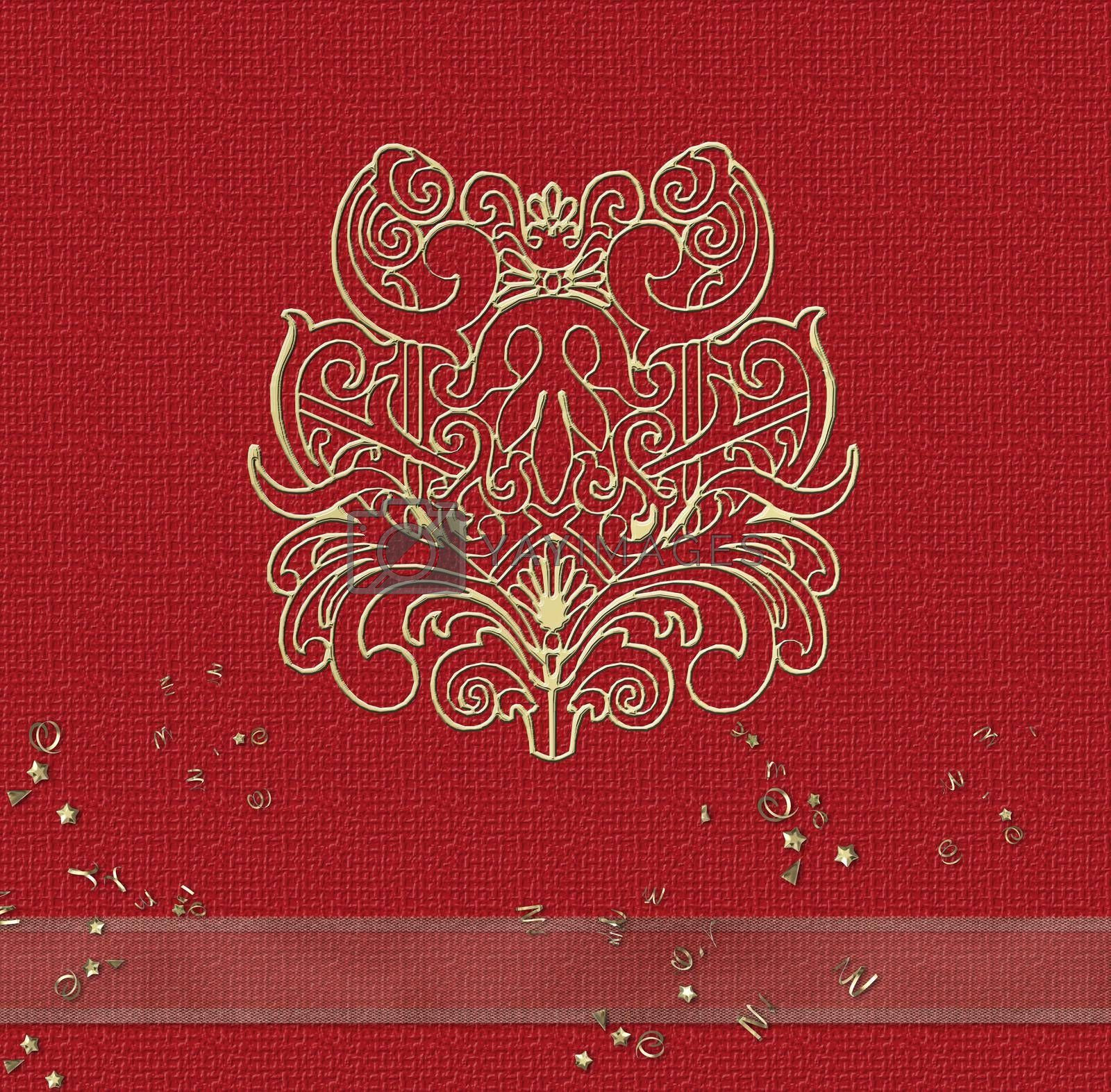 Gold pattern oriental design on red background. Place for text. Template. 3D rendering