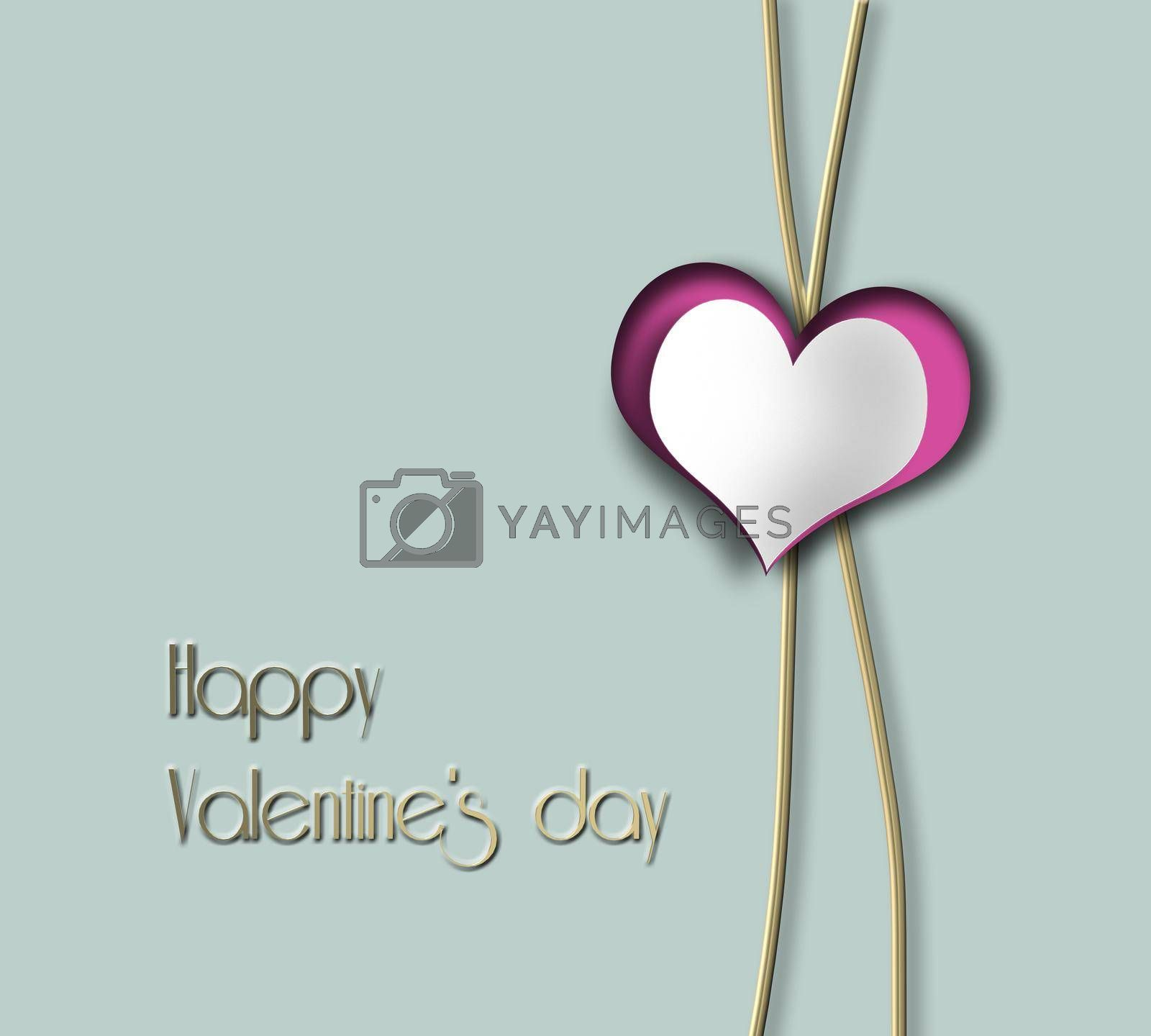Minimalist Love design, Valentines greeting. Heart on two gold lines, I will always love you symbol on green pastel background. Text Happy Valentines day, 3D rendering