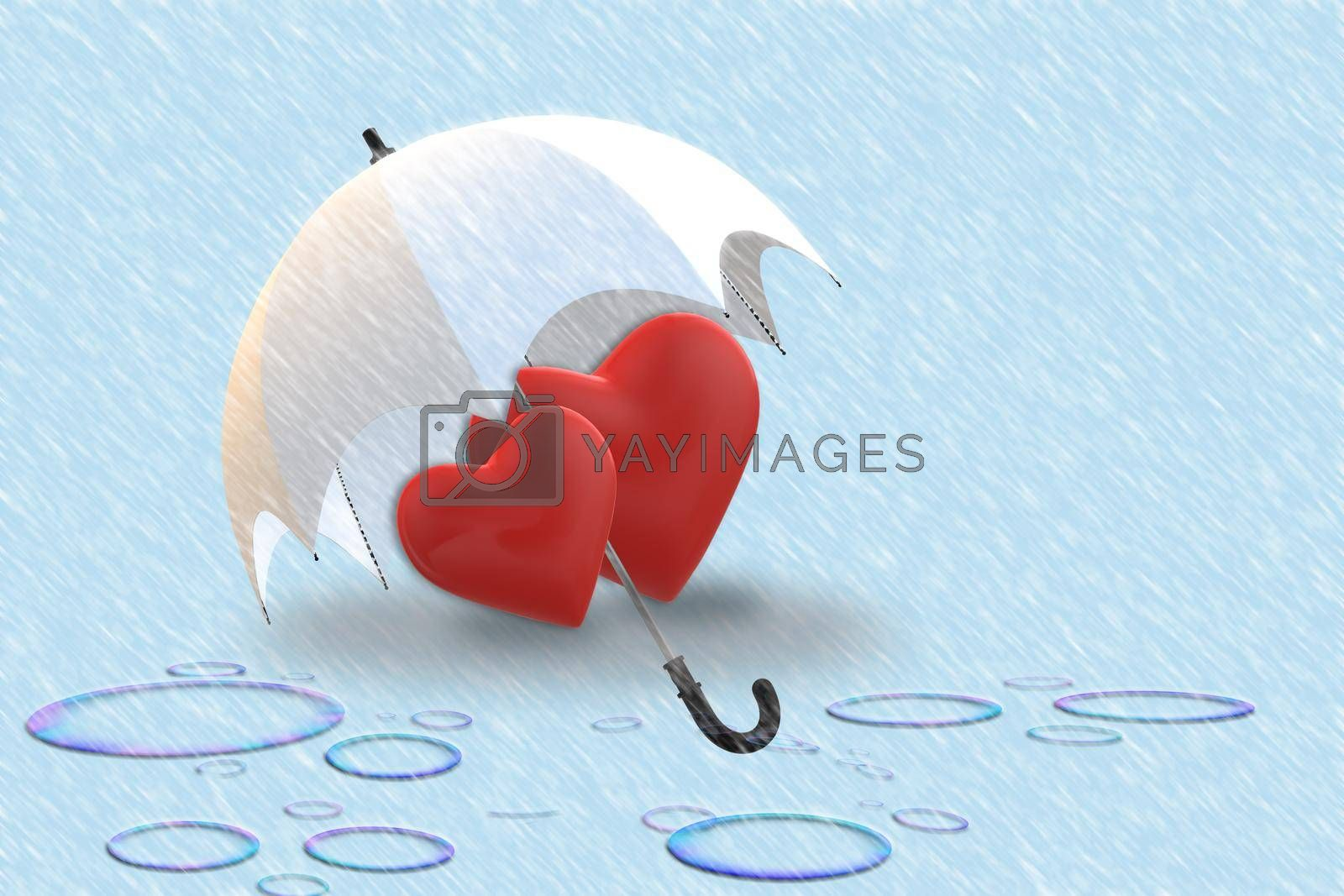 Love heart under umbrella protection in rainy day. Two hearts in love over blue background with rain. Valentine's day greeting card design. 3D rendering