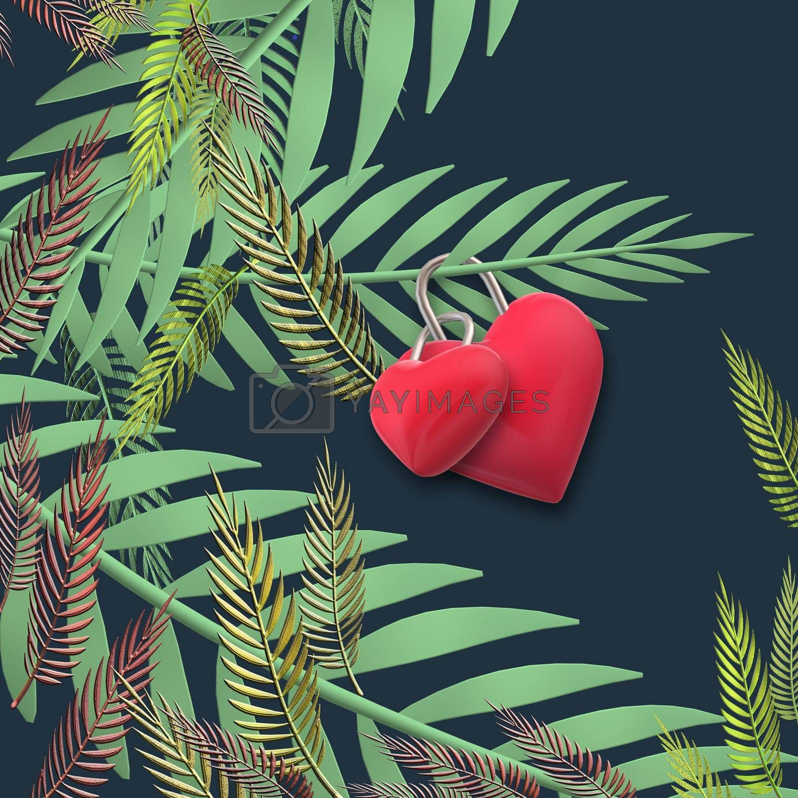 Two linked hearts. Connected red hearts on exotic, tropical leaves trendy background. Valentins, love, marrige unusual elegant design. 3D illustration