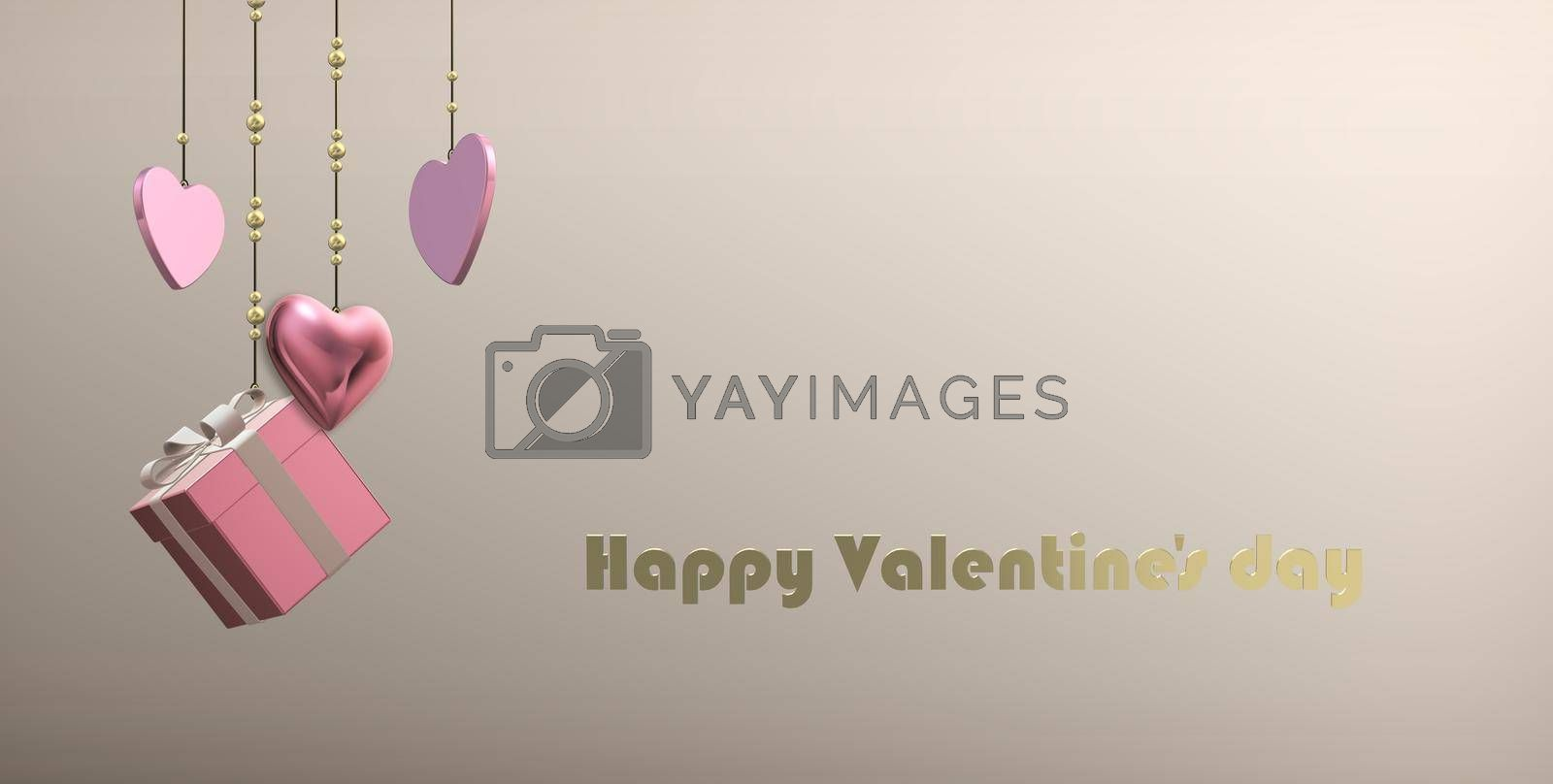 Luxury Valentines card, love design, hanging pink gold hearts, gift box on pastel background. Gold text Happy Valentine's day. Elegant design, template for love card. 3D illustration
