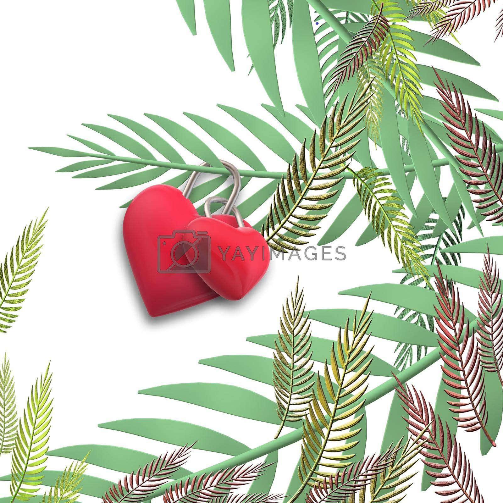Two linked hearts. Connected red hearts on exotic, tropical leaves trendy background. Valentines, love, I love you, marriage unusual elegant design. 3D illustration