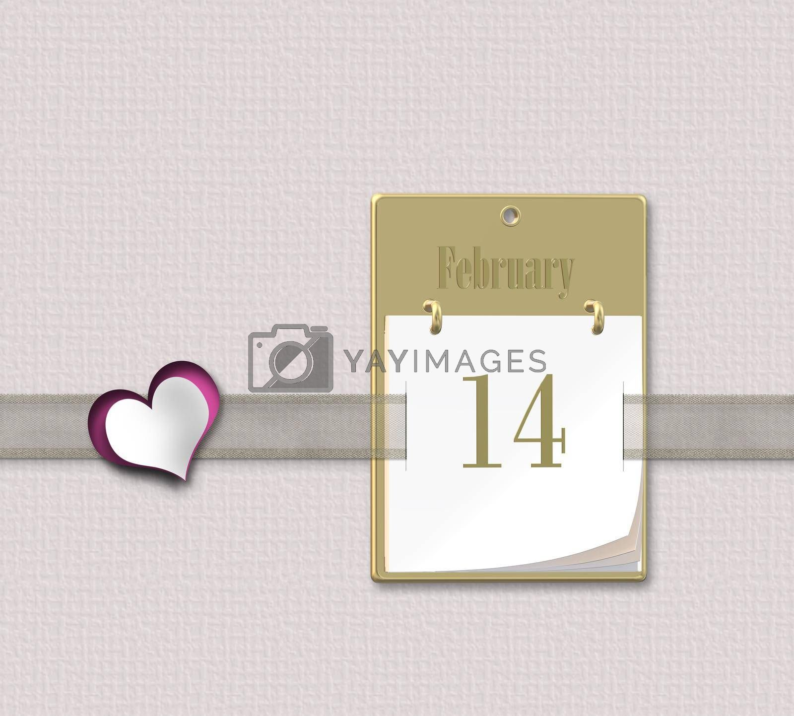Valentine's day calendar 14 February on pink pastel background. Cute pink heart. 3D rendering