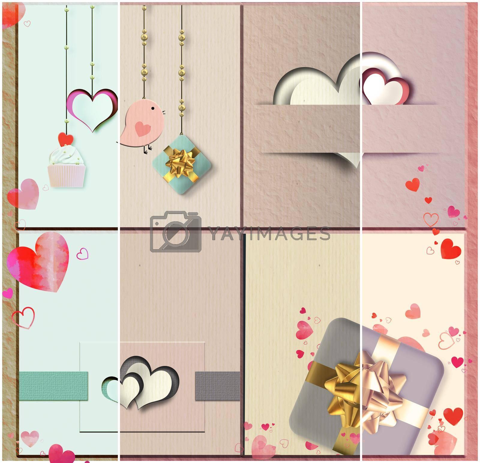 Vintage love collage for Valentine, wedding birthday card. Pastel Vintage collection. 3D illustration